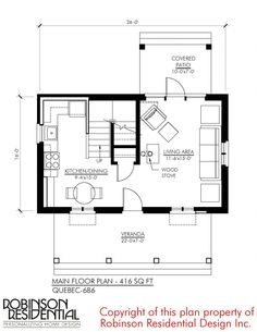 Quebec-686 - Robinson Plans Little House Plans, Small House Plans, French Cottage, Cozy Cottage, Quebec, Maine, Stair Landing, Under Stairs, House Layouts