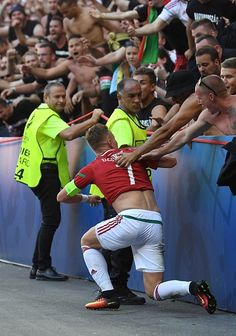 #EURO2016 Hungary's midfielder Balazs Dzsudzsak celebrates with supporters after scoring a goal during the Euro 2016 group F football match between Hungary and...