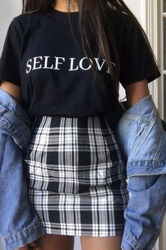 Grunge Style Outfits, Cute Casual Outfits, Shirts & Tops, Plaid Mini Skirt, Mini Skirts, Cute Overall Outfits, Skirt Fashion, Fashion Outfits, Overalls Outfit