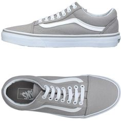 Vans Low-tops & Sneakers (995 ZAR) ❤ liked on Polyvore featuring shoes, sneakers, grey, round toe sneakers, vans sneakers, grey sneakers, flat sneakers and gray sneakers