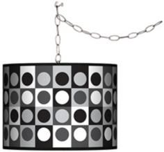 Swag Style Black and Grey Dotted Squares Plug-In Chandelier