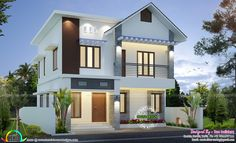 3 bedroom, small double storied modern house architecture by San Builders, Cochin, Kerala Indian Home Design, Indian House Exterior Design, Modern Exterior House Designs, Kerala House Design, Modern House Design, Bungalow Haus Design, Duplex House Design, Bungalow House Plans, House Front Design