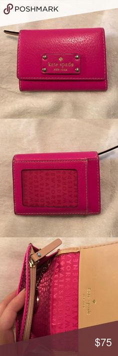 Kate spade pink wallet Kate Spade pink wallet. Some wear, but only seen in last picture, inside wallet. Very cute and fits lots! kate spade Accessories Key & Card Holders