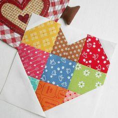 "Block 109 - Spelling Bee Patchwork Heart. An easy 6"" block pattern."