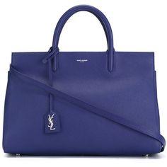 Saint Laurent medium 'Rive Gauche' tote (295290 RSD) ❤ liked on Polyvore featuring bags, handbags, tote bags, blue, royal blue handbag, zip top tote, leather purse, leather tote and royal blue tote