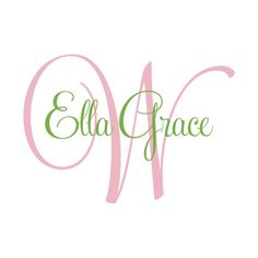 Personalized Wall Decal - Vinyl Initial And Name Elegant Script Monogram For Baby Girl Nursery Or Teen Girls Room 22H x 36W GN020