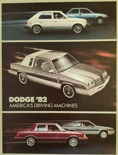 1982 Dodge Cars | K-Cars and Omnis.... they had to airbrush in the speed lines! Ha!