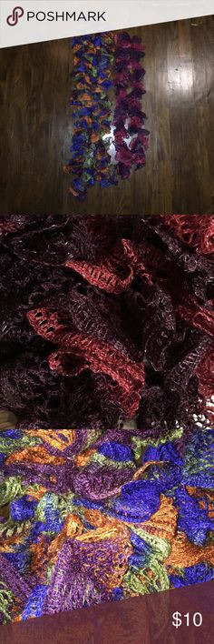 Homemade Ruffle Yarn Scarves One is red and purple the other is multicolored Accessories Scarves & Wraps