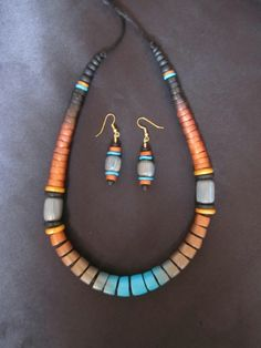 Polymer clay necklace with earrings by Karen Brueggemann