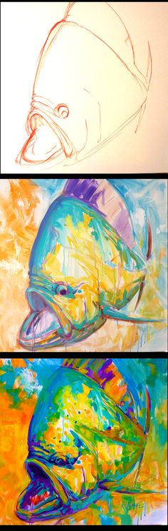 Was seriously feeling the need to paint larger today. 30x30 acrylic painting on canvas Alla Prima #mahi #fishing #Savlen