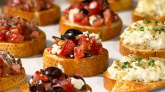Greek-style Bruschetta - Greek olives, crumbled feta and ripe tomato make a colourful, flavourful bruschetta topping. An easy appetizer, ready in minutes. Elegant Appetizers, Quick Appetizers, Easy Appetizer Recipes, Epicure Recipes, Tapas Recipes, Clean Recipes, Recipies, Tapenade, Menu Tapas