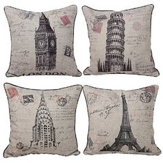 Queenie - 4 Pcs Cotton Linen Throw Pillow Case with Stamp Print Pillowcase Cushion Cover (18 X 18 Inch) (Bundle Set of 4), Vintage. http://www.amazon.com/gp/product/B00UYQGXUG/ref=as_li_tl?ie=UTF8&camp=1789&creative=9325&creativeASIN=B00UYQGXUG&linkCode=as2&tag=pinthrowpillow8-20&linkId=5ZMJBWRLSPUYBKQ3