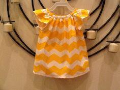 Baby, toddler, and girls chevron basic peasant dress w/ flutter angel sleeve sz 12m, 18m, 24m/ 2, 3,4,5,6,7,8. $19.50, via Etsy.