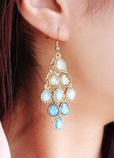 Blue Gradients Drop Gemstone Dangle Earrings