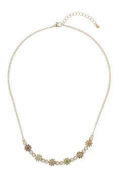 Pastel Rhinestone Flowers Necklace