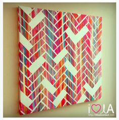 DIY Canvas Idea - Perfect to add a pop of color to the downstairs living room. Don't like chevron but do like streaks of color. Canvas Art Projects, Diy Canvas Art, Diy Wall Art, Diy Art, Canvas Ideas, Painted Canvas, Acrylic Canvas, Canvas Patterns, Painting Patterns