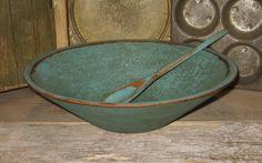 old wooden bowls   Old Wooden BOWL-Antique Bird Egg BLUE-Primitive Country Vintage Decor ...