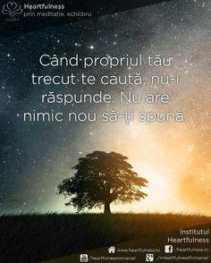 Când propriul tău trecut te caută, nu-i răspunde. Nu are nimic nou să-ți spună. #cunoaste_cu_inima #meditatia_heartfulness #hfnro Meditatia Heartfulness Romania
