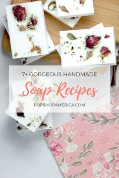 Getting started with soap making? Here are gorgeous melt and pour soap recipes that include ingredients like fresh herbs, sea salt, lavender and more. Handmade Soap Recipes, Handmade Soaps, Diy Soaps, Handmade Headbands, Handmade Rugs, Handmade Crafts, Clear Glycerin Soap, September Crafts, Soap Melt And Pour