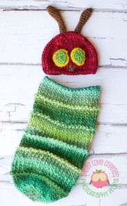 I can't find the actual project but the pattern for the Hungry Caterpillar Baby Cocoon and Hat by Angie Hartley is on Ravelry. It is SO cute!