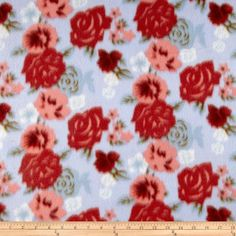 Nursery Fabric: Fabric.com - Floral Fleece Roses Light Blue #0270296 $5.98