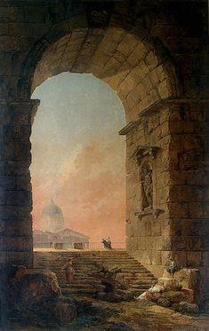 'Paesaggio con un arco e la cupola di San Pietro a Roma' di Hubert Robert (1733-1808, France)
