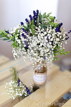 Fragrant Bouquet Of Baby's Breath With Eucalyptus And Lavender Stock Image - Image of decoration, fragrant: 58391023 Lavender Centerpieces, Eucalyptus Centerpiece, Wedding Centerpieces, Wedding Table, Wedding Bouquets, Wedding Ideas, Purple Wedding, Floral Wedding, Wedding Flowers