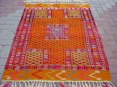 """VINTAGE Turkish Kilim Rug Carpet, Handwoven Kilim Rug,Antique Kilim Rug,Decorative Kilim, Naturel Wool  58,2"""" X 43,3"""". $219.00, via Etsy."""