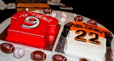 Groom's Cake. Cincinnati Reds & Bengals Jerseys. Wedding Date #Baseball #Football