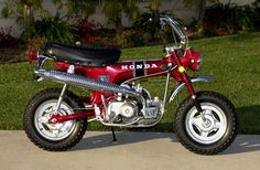 My Honda CT70 KO 3 Speed Automatic Ruby Red :) My best friend & I went everywhere on these bikes...her's was gold and mine was red...sure brings back some great memories!!!