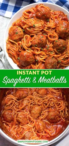 Instant Pot Spaghetti and Meatballs is a delicious one-pot meal. This pressure c. - Food/DrinksInstant Pot Spaghetti and Meatballs is a delicious one-pot meal. This pressure cooker spaghetti and meatballs is easy to make and is ready in under an h Jambalaya Recipe Instant Pot, Instant Pot Pasta Recipe, Best Instant Pot Recipe, Instant Pot Dinner Recipes, One Pot Recipes, Instant Pot Meals, Cheap Recipes, Recipes Dinner, Pressure Cooker Spaghetti