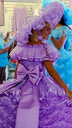 Every Trail Maid's Dress is designed differently and according to their own styl… Beautiful Wedding Gowns, Beautiful Dresses, Nice Dresses, Gipsy Wedding, Azalea Trail Maids, Petticoated Boys, Southern Belle Dress, Girlie Style, Purple Gowns