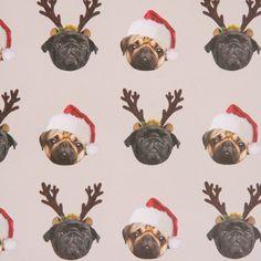 Pug Christmas gift wrap sheets at www.ilovepugs.co.uk post worldwide