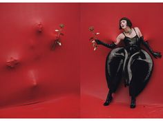 ~ Iris Van Herpen plastic dress. Dolce & Gabbana satin bodysuit. De Grisogono 18k white gold and diamond collar necklace; Atsuko Kudo gloves and stockings; Gucci heels