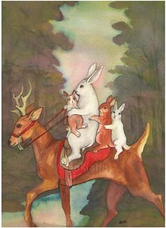 """The Ride Home"" watercolor. ??? might be by Bluedognose? (Was unclear whether name of poster, or the artist.) Whoever painted it, <3"