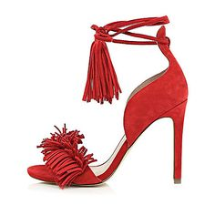 f2172d76ef7 Red leather tassel front heels