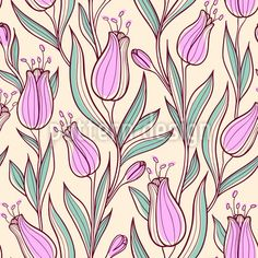 Illustration about Vector floral seamless pattern with pink tulips. Illustration of texture, seamless, wallpaper - 36178672 Pink Tulips, Tulips Flowers, Vector Pattern, Pattern Design, Spring Blossom, Pattern Illustration, Flower Power, Vector Free, Texture