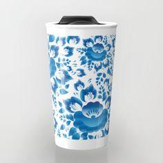 Vintage shabby Chic spring romantic pattern with sky blue flowers Travel Mug