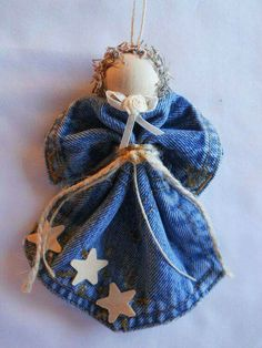 Wood Star & Gold Levi Angel Ornament Denim Pocket Christmas Wreath Handmade for Everyone Ornament Crafts, Diy Christmas Ornaments, Homemade Christmas, Christmas Angels, Holiday Crafts, Christmas Decorations, Angel Ornaments, Christmas Items, Ornaments Ideas