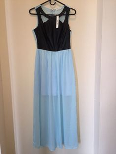 NWT SANJOY Maxi Dress Size S. Leather look Bodice. Chiffon Bottom .  Lined Mini…