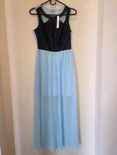 NWT SANJOY Maxi Dress Size S. Leather look Bodice. Chiffon Bottom .  Lined Mini…