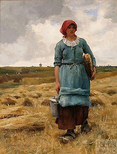 Julien Dupré (1851 - 1910)  Femme Porrtant a Manger