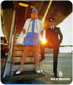 Olympic Airways cabin crew uniform designed by Pierre Cardin Airline Cabin Crew, Airline Travel, Air Travel, Olympic Airlines, Airline Uniforms, Retro Advertising, Air France, Flight Attendant, Pierre Cardin