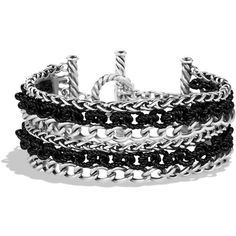 David Yurman Six-Row Chain Bracelet ($750) ❤ liked on Polyvore featuring jewelry, bracelets, accessories, pulseiras, bijoux, silver, silver bangles, david yurman bangle, silver jewellery and silver chain jewelry