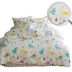 9e91dfd1dfb3 XUKEJU Reversible 3 Pieces Dinosaur Duvet Cover Cartoon Animal Print Bedding  Set 100% COTTON Quilt