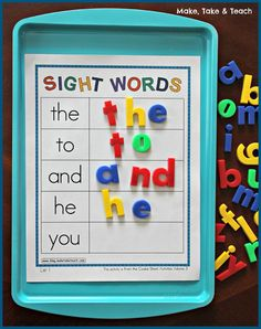 Sheet Bundle for Sight Words, Blends/Digraphs and Word Families Cookie Sheet Activities for learning and practicing sight words. Great hands-on learning!Cookie Sheet Activities for learning and practicing sight words. Great hands-on learning! Kindergarten Centers, Kindergarten Reading, Kindergarten Classroom, Classroom Activities, Activities For Kids, Sight Word Activities, Classroom Decor, Sight Word Centers, Phonics Activities