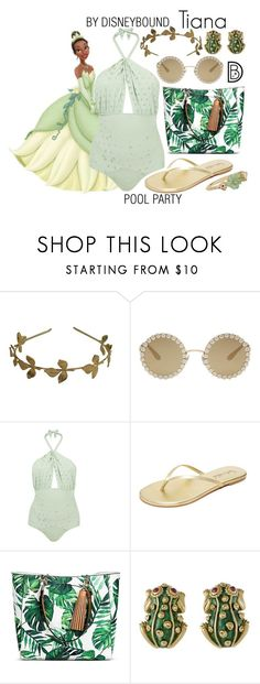"""Tiana"" by leslieakay ❤ liked on Polyvore featuring Disney, Dolce&Gabbana, Lilliput & Felix, Splendid, Mossimo, David Webb, BROOKE GREGSON, disney, disneybound and poolparty"