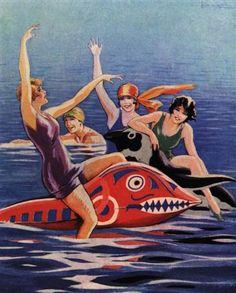 Adolfo Busi Rimini 1928 Bagnante. llustrazione nella rivista Perle, strenna estiva, 1928.