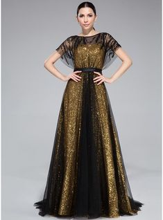 A-Line/Princess Scoop Neck Sweep Train Tulle Charmeuse Sequined Evening Dress With Ruffle Beading