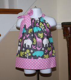 zoo babies Pillowcase dress michael miller zoology orchid purple pink aqua blue elephants hippos giraffe toddler girls dress